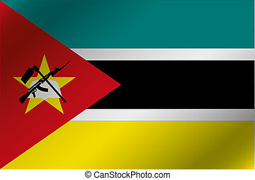 3D Wavy Flag Illustration of the country of Mozambique