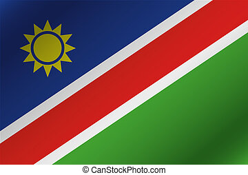3D Wavy Flag Illustration of the country of Namibia