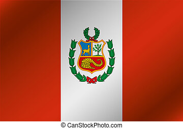 3D Wavy Flag Illustration of the country of Peru