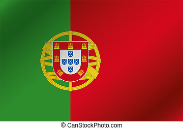 3D Wavy Flag Illustration of the country of Portugal