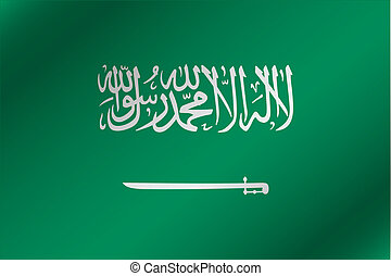 3D Wavy Flag Illustration of the country of Saudi Arabia