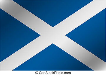 3D Wavy Flag Illustration of the country of Scotland