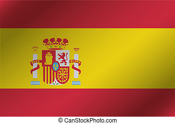3D Wavy Flag Illustration of the country of Spain