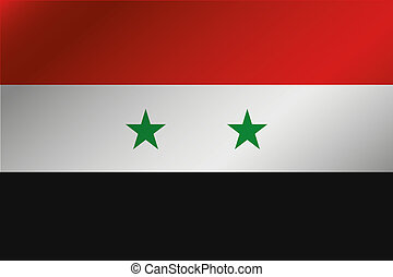 3D Wavy Flag Illustration of the country of Syria