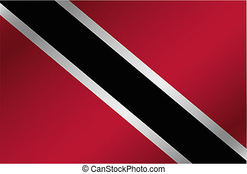 3D Wavy Flag Illustration of the country of Trinidad and Tobago