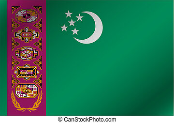 3D Wavy Flag Illustration of the country of  Turkmenistan