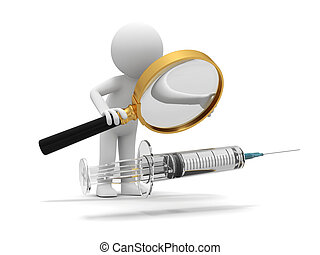 A 3d white doctor/ syringe/ needle/ magnifying glass
