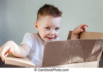 a 4 year old blond boy sits in a cardboard box at home and...