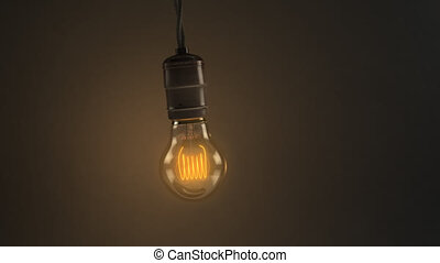 3D animated loop of a single swinging vintage incandescent...