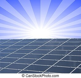 a, abbildung, von, a, solarmodul, gegen, blaues, sonnig,...