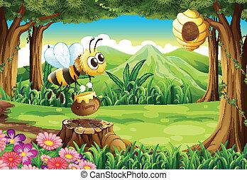 a, abeille, porter, a, pot, de, miel, à, les, forêt