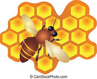 a, abeille, remplissage, les, ruche, cellules, vecteur