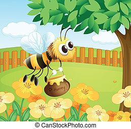 a, abeille, tenue, a, miel, quoique, voler