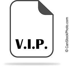a, abreviação, v.i.p., ligado, a, documento, icon., indica, um, pessoa importante