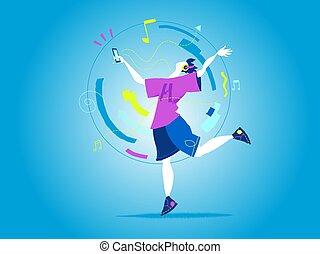 a, adolescent, écouter, les, musique, et, danse