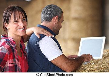 a, age moyen, couple, dans, leur, farm.