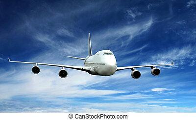 a airplane fly on blue sky