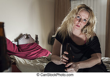 A alcoholic woman drinking beer in his bedroom.