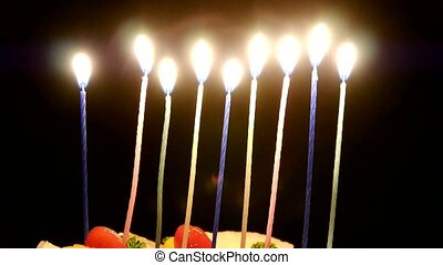 a allumé bougies, cake.