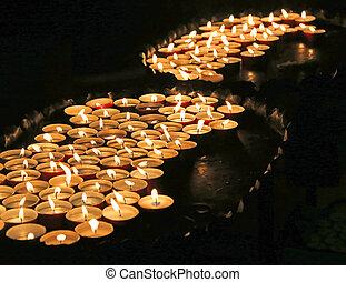 a allumé bougies, masse, église
