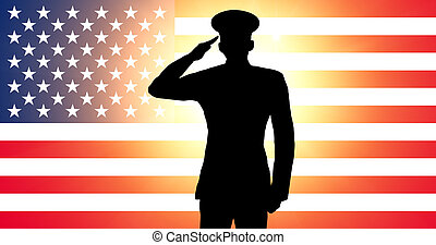 A american soldier saluting in front of an American...