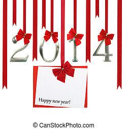 a, ano novo, 2014, cartão