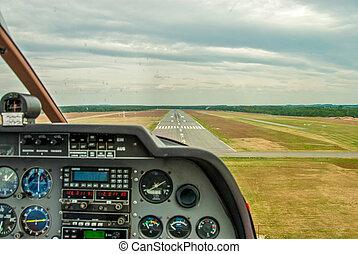 a, ansicht, von, der, cockpit, von, a, sport, flugzeug, zu,...