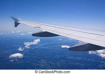 a, ansicht, von, wolkenhimmel, von, ein, flugzeug fenster