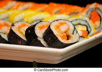 appetizer japanese fresh platter of sushi