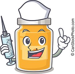 A appricot hospitable Nurse character with a syringe