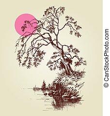 a, arbre, par, les, lac, ou, rivière, et, a, rose, pleine lune, croquis