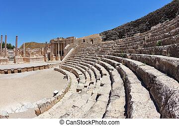 a, assentos, e, um, fase, em, a, romana, anfiteatro