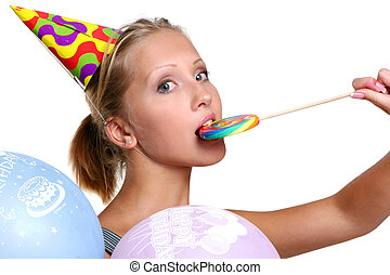 attractive young woman with lollipop