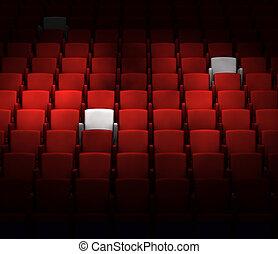 a, auditório, com, reservado, assentos