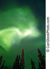 a, aurora boreal, emerge, através, nuvens, remoto, alasca