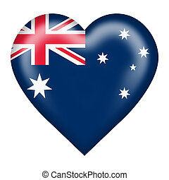 Australia flag heart button isolated on white with clipping path