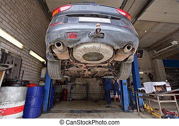 a, auto- reparatur, garage