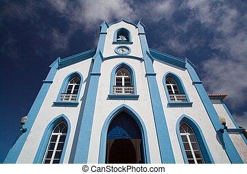 a, azul, igreja