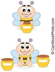 a, bébé, abeille, à, miel