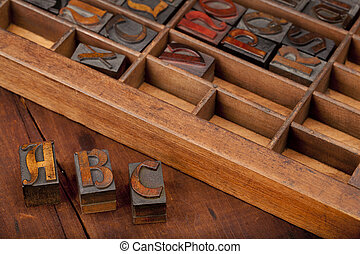 A, B and C letters in vintage type