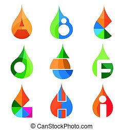 A B C D E F G H I Letters Set Of Logo Idea Template