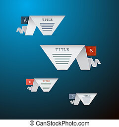 A, B, C, D, Four Pieces of Paper on Blue Background, Infographics