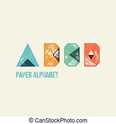 A B C D - Grunge Retro Paper Type Alphabet