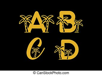 A B C D initial letter with coconut tree in gold color