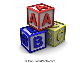 3D colored cubes with letters.