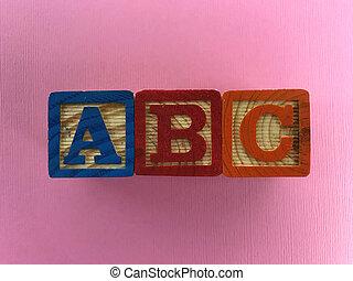 A B C Letters. wood blocks. Photo composition