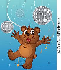 A baby bear dancing