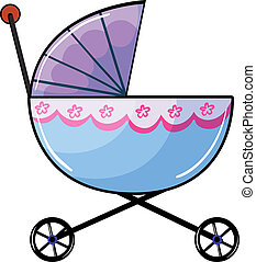 A baby buggy - Illustration of a baby buggy on a white...