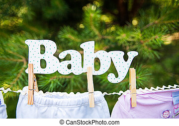 Baby clothing hanging on the clothesline