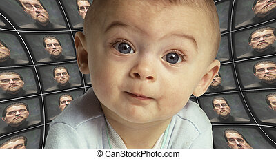 A baby facing the camera surrounded by distorted screens of an Orwellian figure. Child indoctrination by the state.